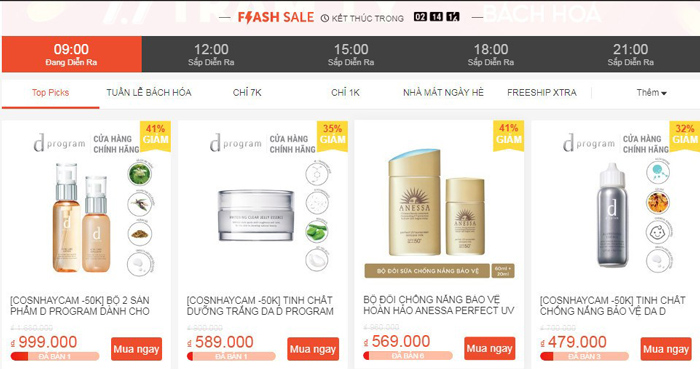 Flash sale là chương trình khuyến mãi được tổ chức mỗi ngày trên Shopee